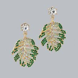 Jeweled Palm Leaf Drop Earrings | White House Black Market