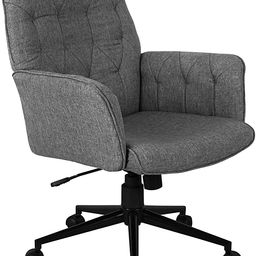 Techni Mobili Executive Modern Upholstered Tufted Office Chair with Arms, Regular, Grey | Amazon (US)