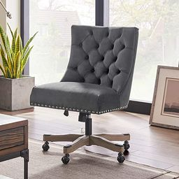 Volans Modern Velvet Fabric Adjustable Height Swivel Home Office Chair with Wheels, Wooden Legs A... | Amazon (US)