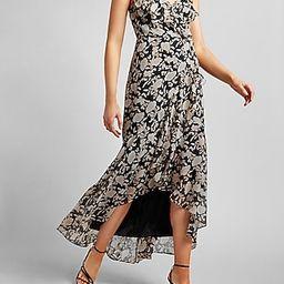 Floral Ruffle Wrap Front Maxi Dress | Express