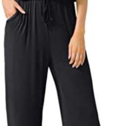 LAINAB Women's Short Sleeve Loose Wide Legs Casual Jumpsuits with Pockets | Amazon (US)
