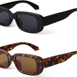 BUTABY Rectangle Sunglasses for Women Retro Driving Glasses 90's Vintage Fashion Narrow Square ...   Amazon (US)