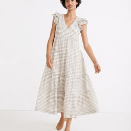 Gingham Seersucker Ruffle-Sleeve Tiered Midi Dress   Madewell