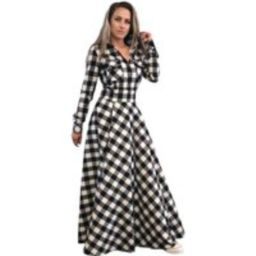 Checkered Dress, Shirt Plaid Plus Size Clothing, Maxi Dress, Tartan Long Dress, Black & White Cotton | Etsy (US)