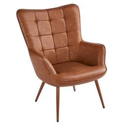 SmileMart Faux Leather Wingback Accent Chair Upholstered Biscuit Tufted Club Accent Chair Contemp... | Walmart (US)