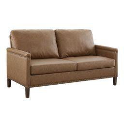Apartment Upholstered Sofa with Nail Head Trim, Brown Faux Leather | Walmart (US)