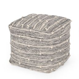 """Noble House Powelton Fabric Handcrafted Cube Pouf, Ivory and Gray, 16"""" x 16"""" 