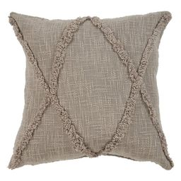 """LR Home Solid Diamond Tufted Cotton Square Throw Pillow, Taupe Brown, 20"""", Count per Pack 1 