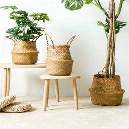 Seagrass Belly Basket Storage Plant Pot Foldable Nursery Laundry Bag Decor | Walmart (US)