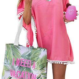 PINKMSTYLE Women's Chiffon Pom Pom Kaftan Beach Swimsuit Cover Up for Swimwear Bathing Suit   Amazon (US)