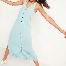 Sleeveless Linen-Blend Button-Front Midi Shift Dress for Women   Old Navy (US)