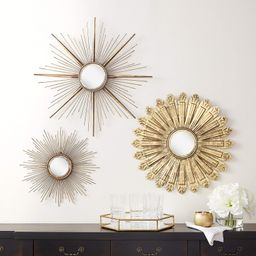 Sunburst Metal Wall Mirror Set of 3, Wall Mirrors for Room Decor & Home Décor, Round Mirrors Set...   Amazon (US)