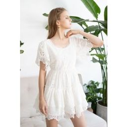 Sweetheart Neck Embroidered Eyelet Cotton Dress | Chicwish