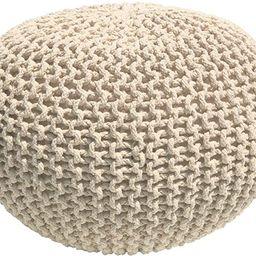 Casa Platino - Hand Knitted Cable Style Dori Pouf – (Ivory) - Floor Ottoman - 100% Cotton Braid...   Amazon (US)
