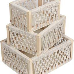 Macrame Storage Baskets for Shelves and Closet, Decorative Boho Woven Baskets for Organizing and ...   Amazon (US)