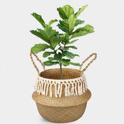 Woven Seagrass Storage Basket, Woven Basket Plant Basket Belly Baskets Toy Basket Handmade Sea Gr...   Amazon (US)