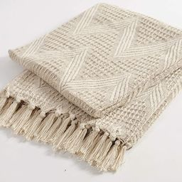 The Wish Tree Co. 50x60 Dark Beige Cotton, Zigzag Farmhouse Throw Blanket with Fringe Tassels, So...   Amazon (US)