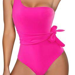 RXRXCOCO Women One Shoulder Bathing Suit Side Bandage Bowknot Tummy Control One Piece Swimsuit Sw...   Amazon (US)