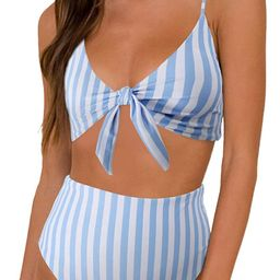 Blooming Jelly Womens High Waisted Bikini Set Tie Knot High Rise Two Piece Swimsuits Bathing Suit...   Amazon (US)