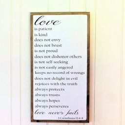 Love Sign / Love is Patient / Wood Sign / 1 Corinthians 13 Wall Art / Wedding Gift / Master Bedro... | Etsy (US)