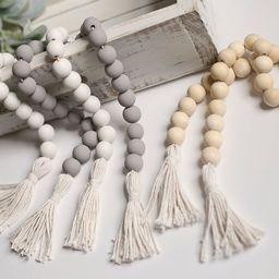 Wood bead garland with tassels, farmhouse decor, tiered tray decor, boho decor, wood garland, gre... | Etsy (US)