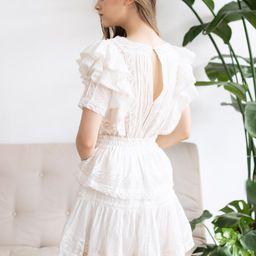 Short Sleeves Ruffle Crochet Tiered Dress | Chicwish