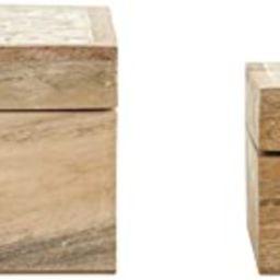 Creative Co-Op Handcarved & Whitewashed Mango Wood Boxes (Set of 2 Sizes) Misc Non-Food Storage, ... | Amazon (US)