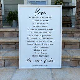 1 Corinthians 13, Love is patient, Love is kind, Love never fails, Wood Scripture Verse Art | Etsy (US)