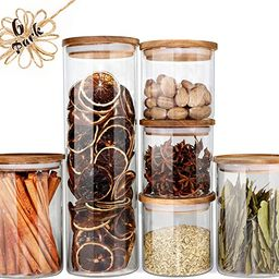 Glass Jars with Wood Lids Urban Green, Airtight Glass Canisters Sets, Glass Storage Containers, 6... | Amazon (US)