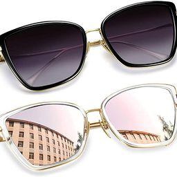 Joopin Oversized Cateye Sunglasses for Women, Fashion Metal Frame Cat Eye Womens Sunglasses | Amazon (US)