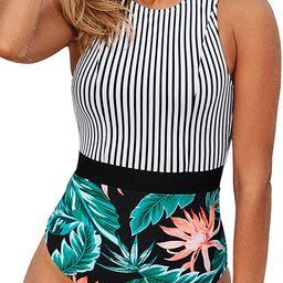 CUPSHE Women's Striped Leafy One Piece Swimsuit | Amazon (US)