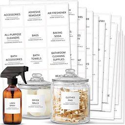 Talented Kitchen 144 Minimalist Laundry Room Labels Set. Black Print on White Matte Backing, Wate... | Amazon (US)