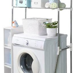 BAOYOUNI 2-Layer Over Washing Machine Storage Rack Utility Metal Bathroom Shelf 6-Hook Space Save... | Amazon (US)