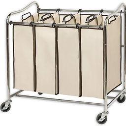 Simplehouseware 4-Bag Heavy Duty Rolling Laundry Sorter Cart, Chrome | Amazon (US)