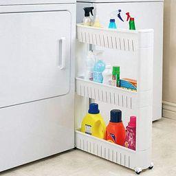 Modern Home Narrow Sliding Storage Organizer Rack - Laundry/Bathroom/Kitchen Portable Storage She... | Amazon (US)