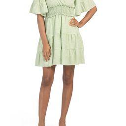 Yarn Dye Short Sleeve Tiered Dress   TJ Maxx