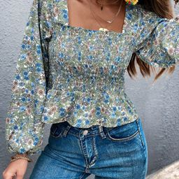 Ditsy Floral Smocked Peplum Top | SHEIN