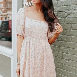 Square Neck Peach Blush Floral Dress | Magnolia Boutique