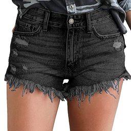Govc Womens Jean Shorts Mid-Rise Frayed Raw Hemline Ripped Denim Short Jeans   Amazon (US)