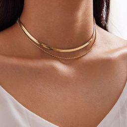 1pc Snake Bone Decor Beaded Layered Necklace | SHEIN