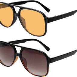 Vintage Aviator Sunglasses for Women Men 70s Classic Retro Large Sunglasses   Amazon (US)
