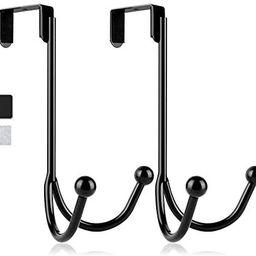 2Packs Over The Door Double Hanger Hooks,HFHOME Metal Twin Hooks Organizer for Hanging Coats, Hat... | Amazon (US)