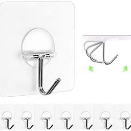 JINSHUNFA Wall Hooks 13lb(Max) Transparent Reusable Seamless Hooks,Waterproof and Oilproof,Bathro... | Amazon (US)