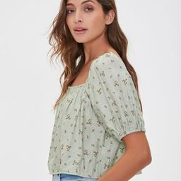 Floral Print Puff-Sleeve Top   Forever 21 (US)