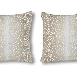 S/2 Doeskin Pillows, Tan/White Linen | One Kings Lane