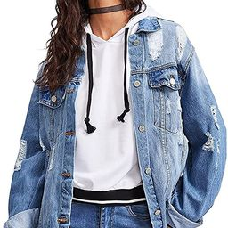 Floerns Women's Ripped Distressed Casual Long Sleeve Denim Jacket | Amazon (US)