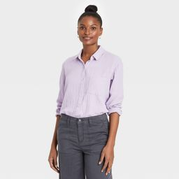 Women's Long Sleeve Gauze Button-Down Shirt - Universal Thread Violet L, Purple | Target