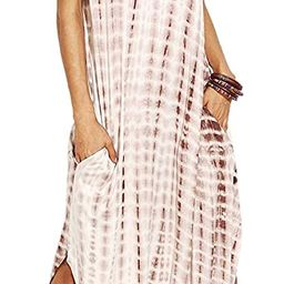 MakeMeChic Women's Boho Maxi Short Sleeve Split Pockets Tie Dye Long Dress   Amazon (US)