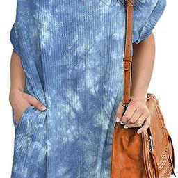 IWOLLENCE Women Waffle Knit Tunic Dress Casual Summer Short Sleeve Loose Dresses Cover Up Beach D...   Amazon (US)