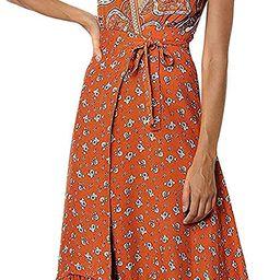 ZESICA Women's Bohemian Floral Printed Wrap V Neck Short Sleeve Split Beach Party Maxi Dress   Amazon (US)